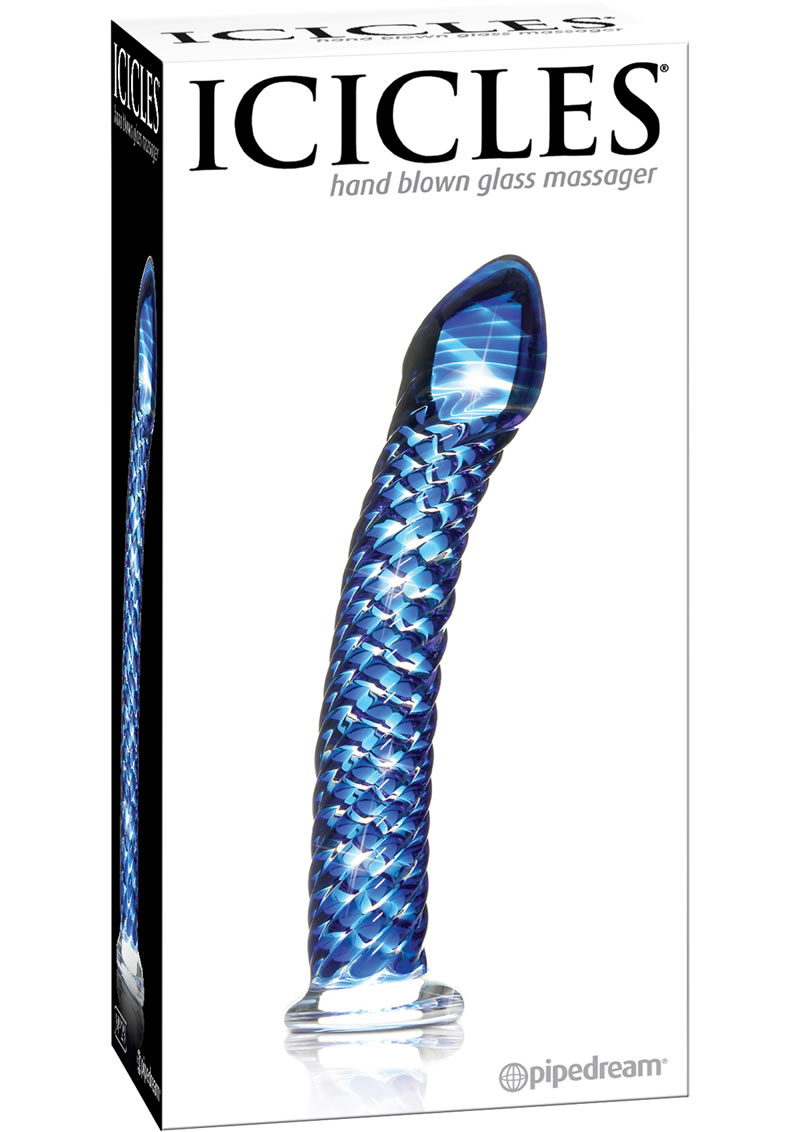 Icicles No 29 Ribbed Glass G-Spot Dildo 7in - Blue