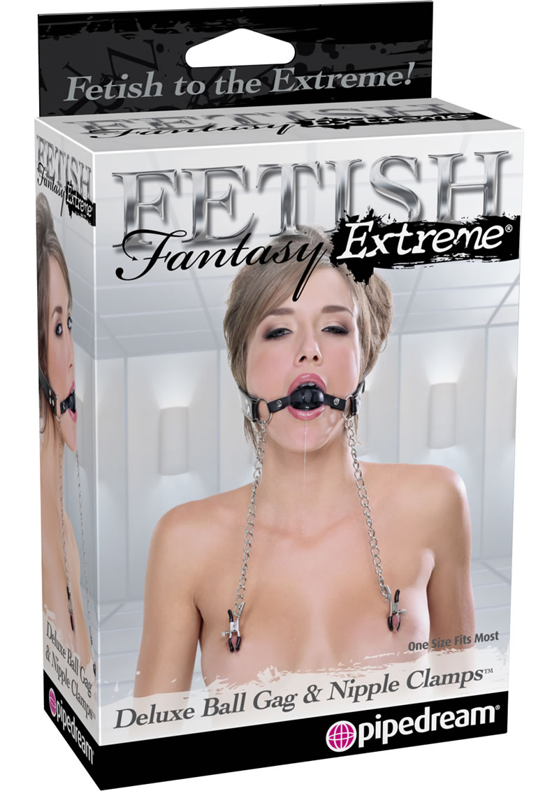Fetish Fantasy Extreme Deluxe Ball Gag And Nipple Clamps - Silver