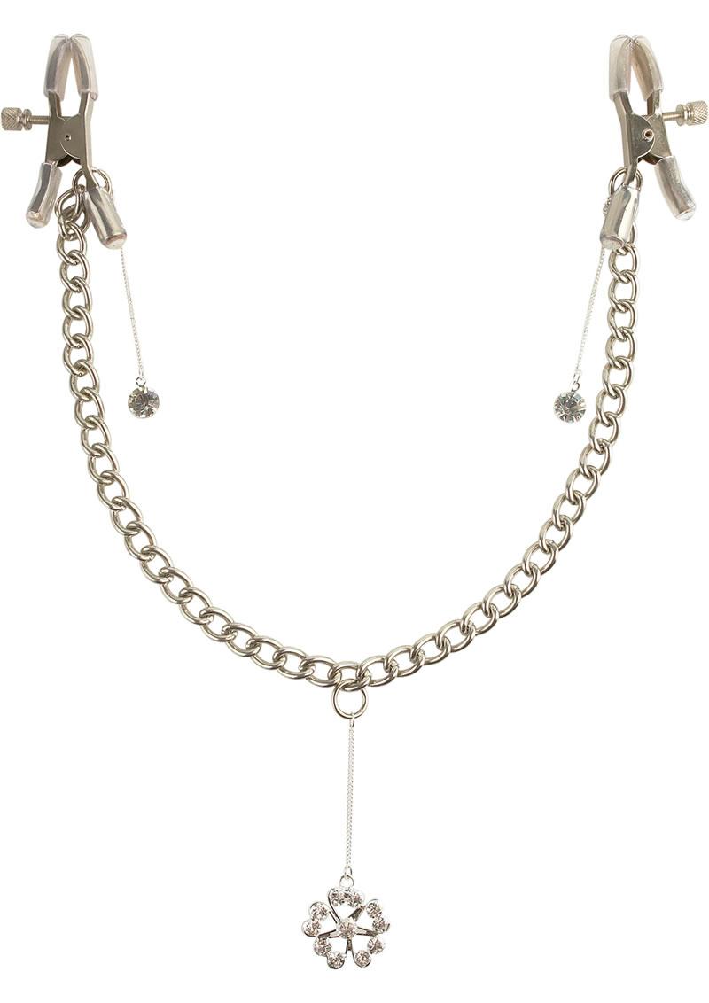 Fetish Fantasy Series Crystal Nipple Clamps - Silver