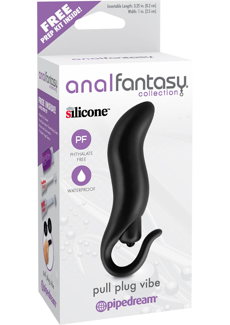 Anal Fantasy Collection Pull Plug Silicone Vibe Waterproof Black 3.25 Inch