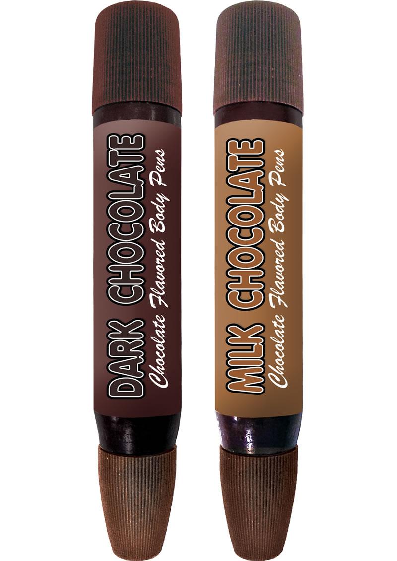 Play Pens Edible Dark and Milk Chocolate Body Pens 2 Each Per Pack