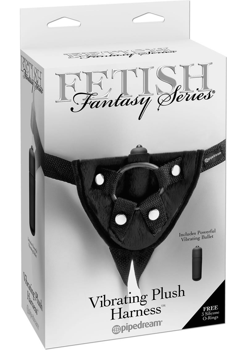 Fetish Fantasy Series Vibrating Plush Adjustable Harness - Black