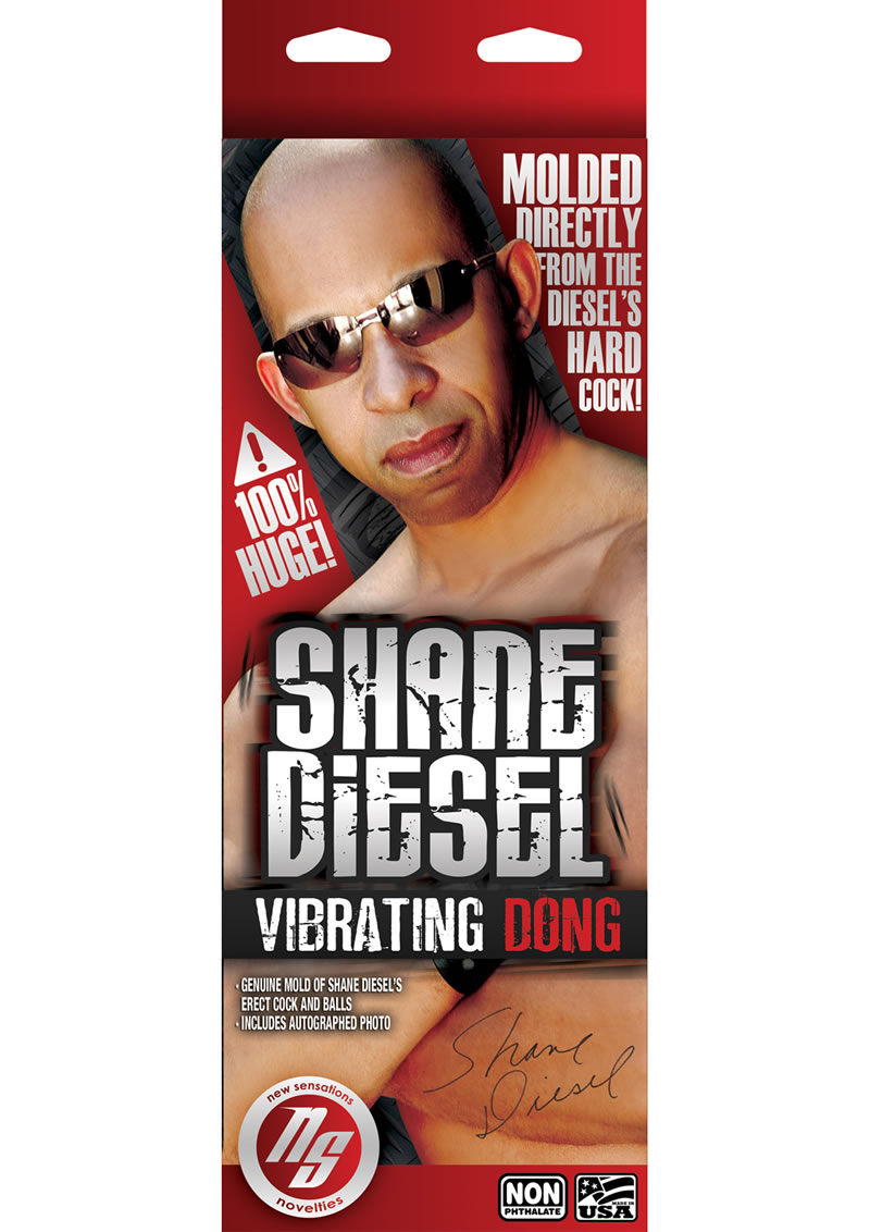 Shane Diesel Realistic Vibrating Dildo With Balls 10in And Remote Control - Chocolate