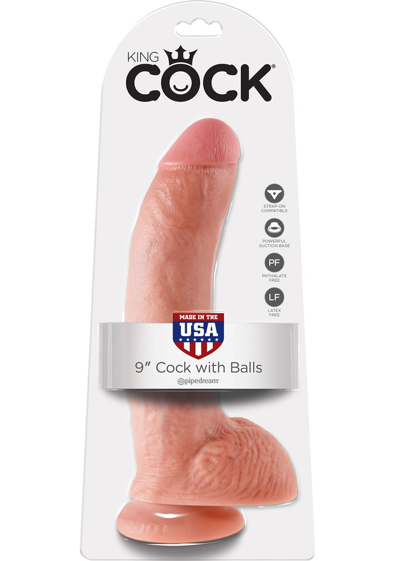 King Cock Dildo with Balls 9in - Vanilla