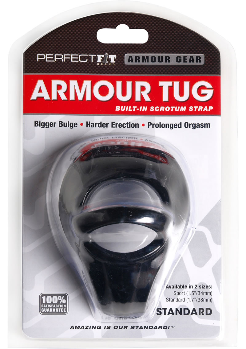 Perfect Fit Armour Gear Armour Tug Built in Scrotum Strap Standard - Black
