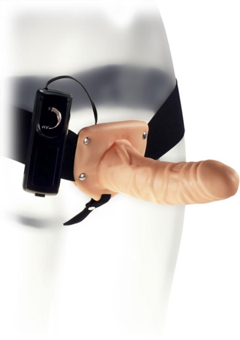 Kinx The Penetrator Vibrating Strap-on - Black/Vanilla
