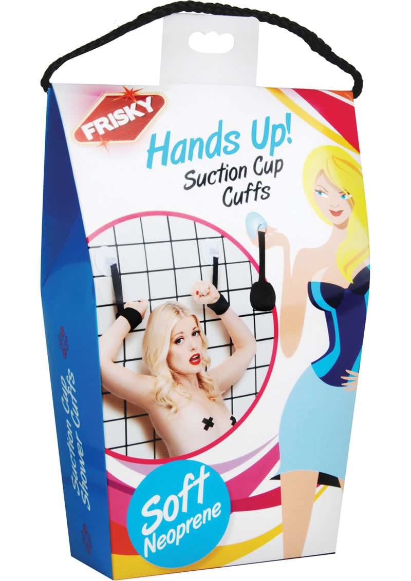 Frisky Hands Up! Suction Cup Cuffs - Black