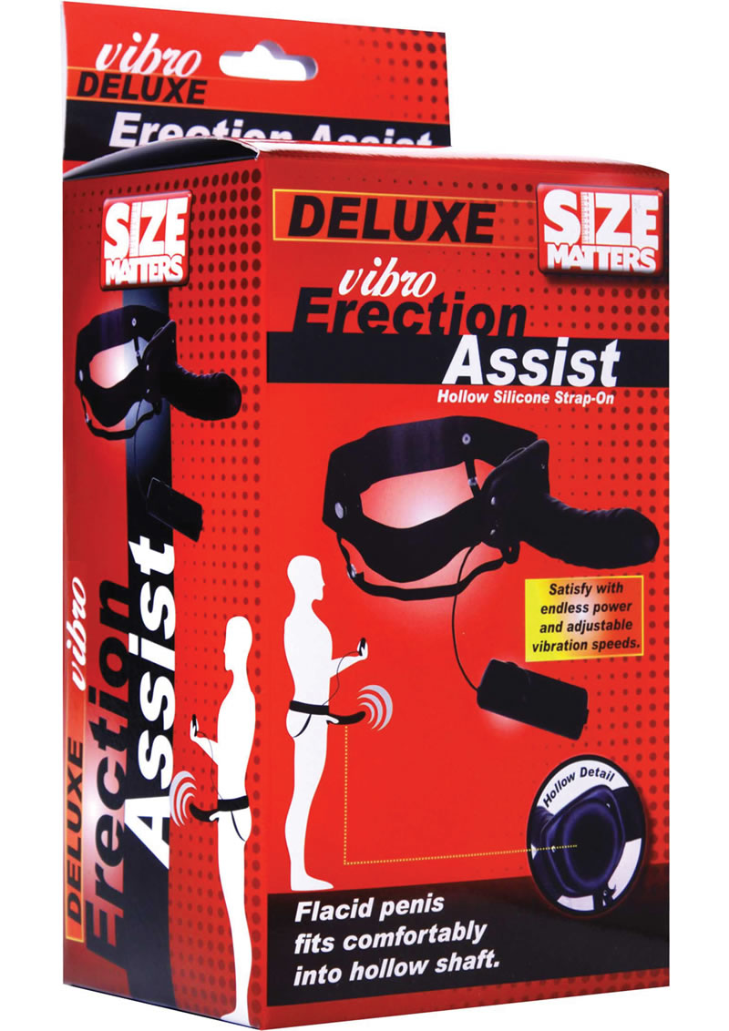 Size Matters Erection Assist Vibrating Silicone Hollow Strap On - Black