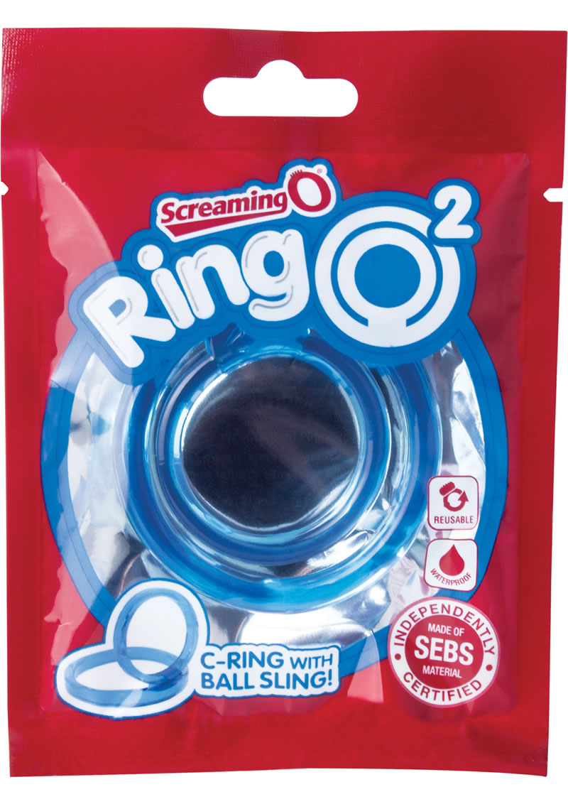 RingO 2 Cockring With Ball Sling Waterproof Blue 12 Each Per Box