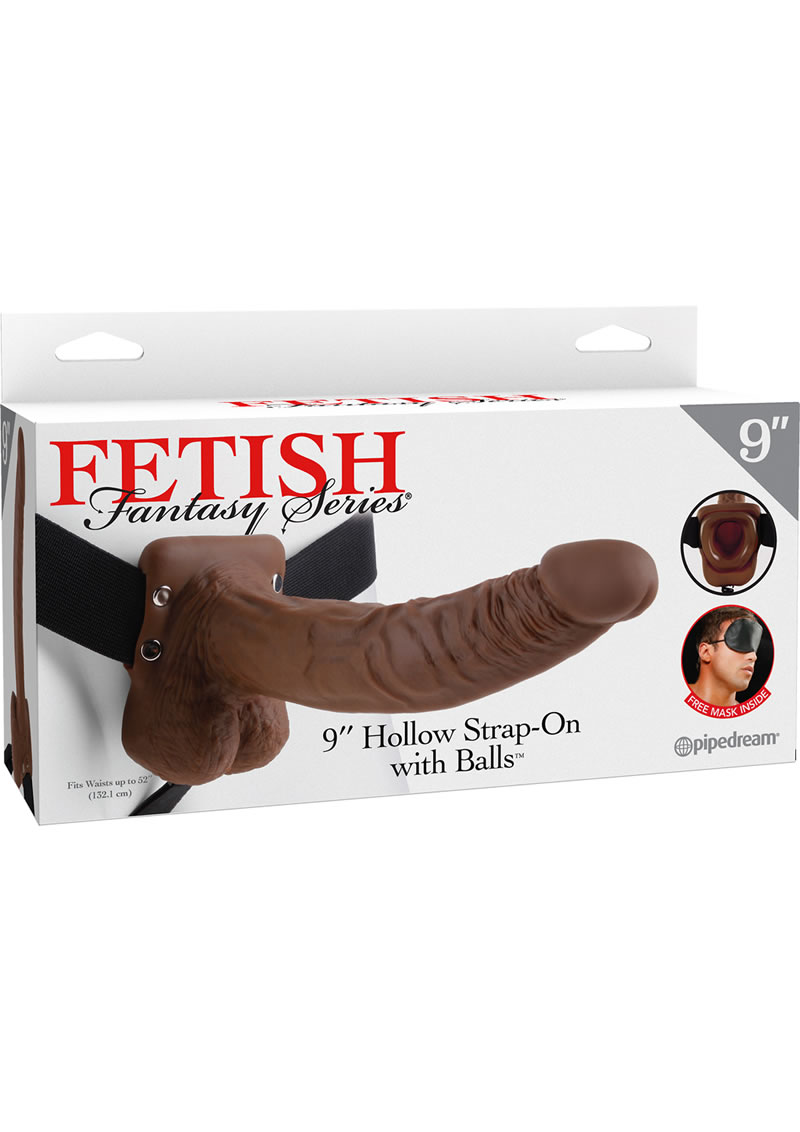 Fetish Fantasy Series Hollow Strap-On Dildo With Balls And Stretchy Harness 9in - Chocolate