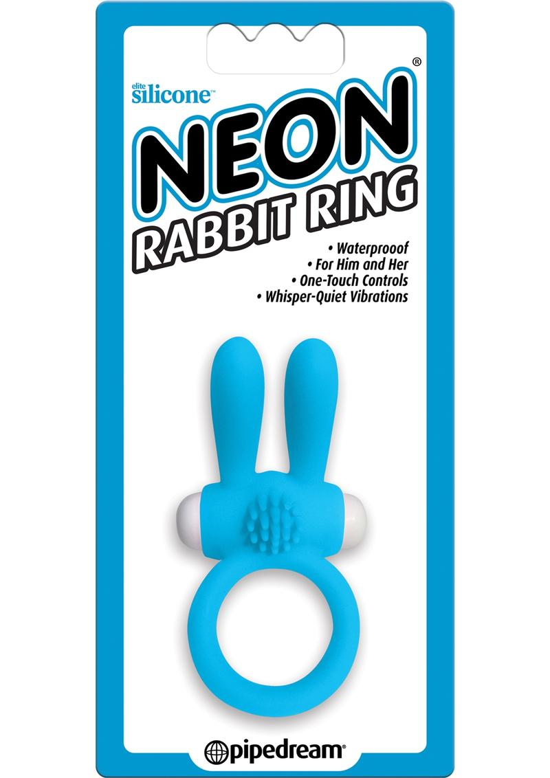 Neon Silicone Vibrating Rabbit Ring - Blue And White