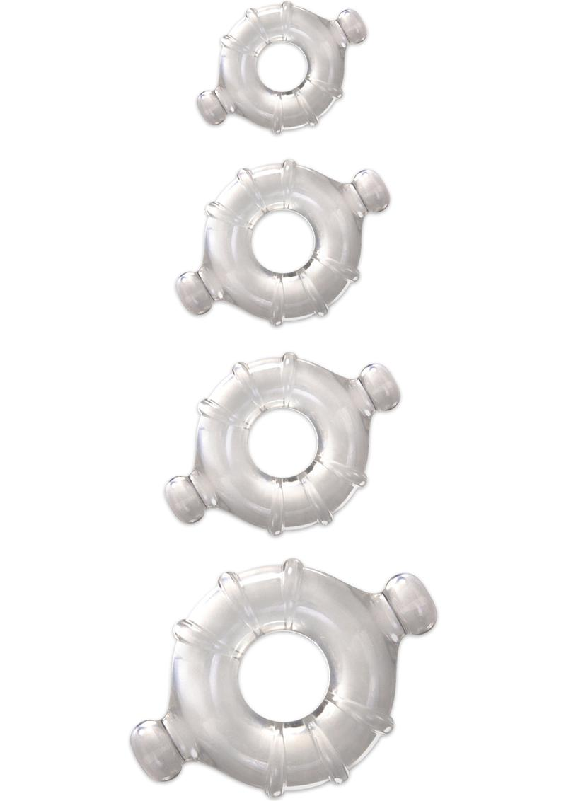 Renegade Vitality Cock Ring Kit (4 Per Set) - Clear