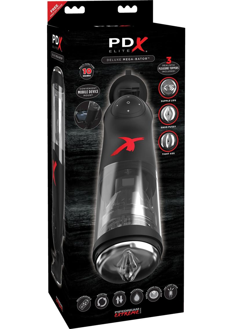 Pipedream Extreme Elite Rechargeable Deluxe Mega-Bator Masturbator - Clear/Black
