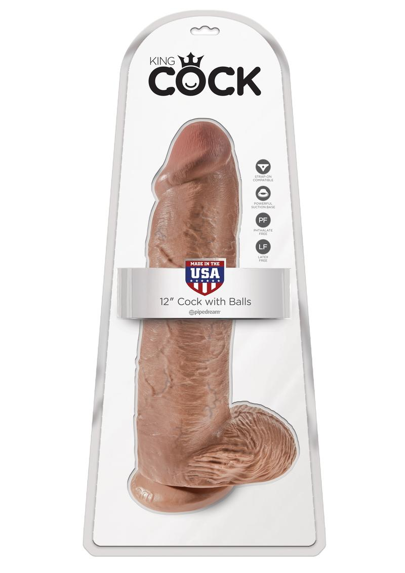 King Cock Dildo with Balls 12in - Caramel