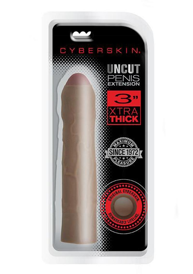 CyberSkin Xtra Thick Uncut Transformer Penis Extender 3in - Chocolate