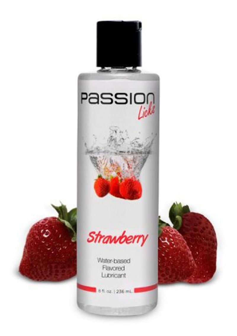 Passion Licks Strawberry Water Based Flavored Lubricant 8oz