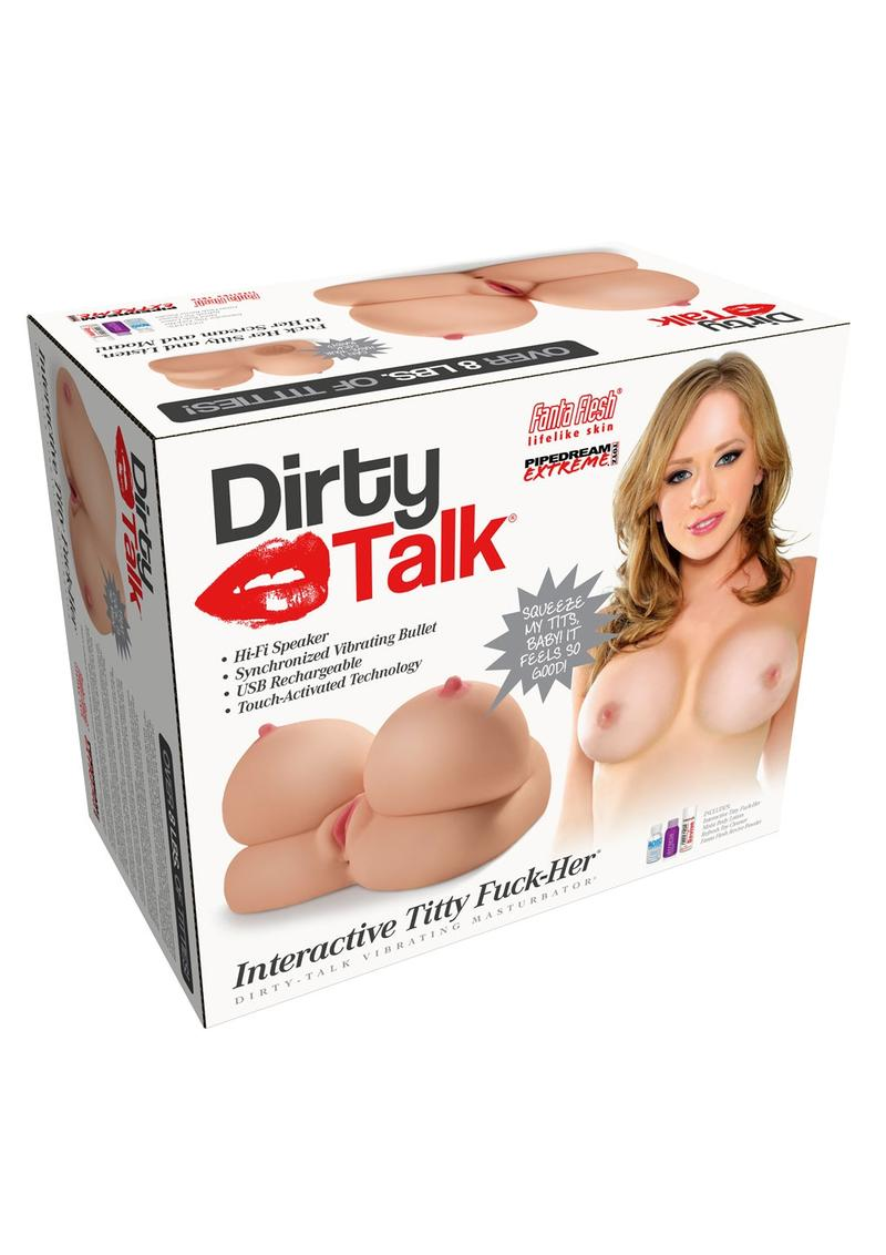 Pipedream Extreme Toyz Rechargeable Dirty Talk Interactive Titty Fuck-Her Vibrating Masturbator - Boobs and Pussy - Vanilla