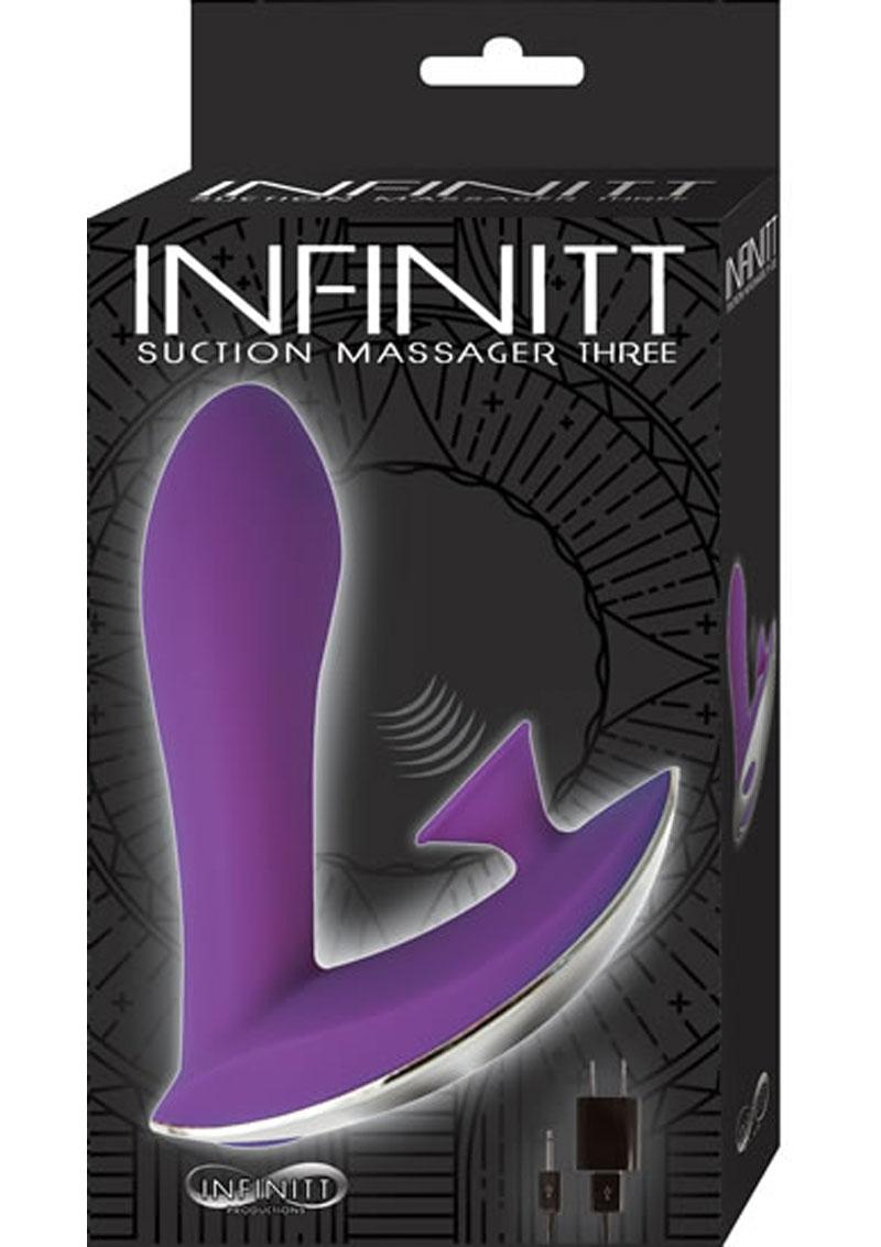 Infinitt Suction Massager Three Rechargeable Silicone Vibrator - Purple