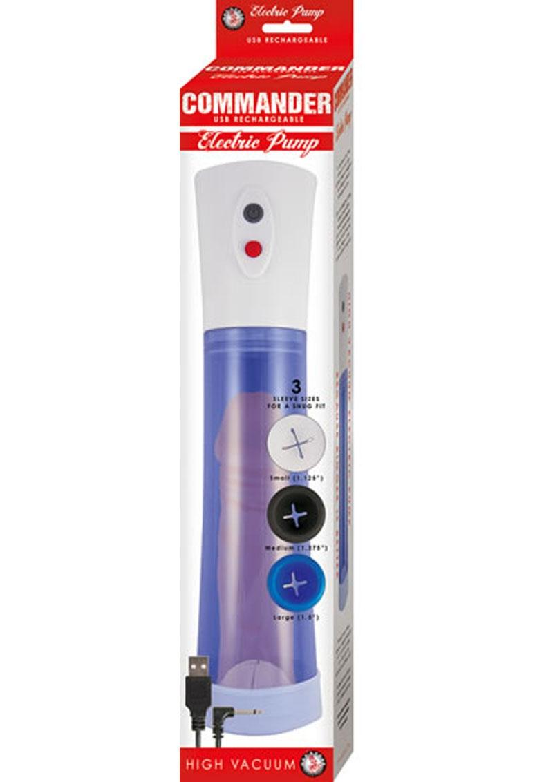 Commander Electric Rechargeable Penis Pump - Blue