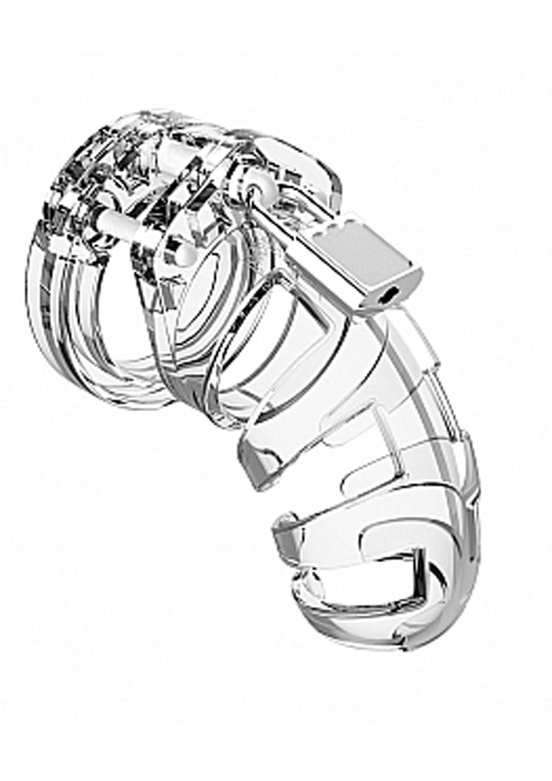 Man Cage Model 02 Male Chastity With Lock 3.5in - Clear