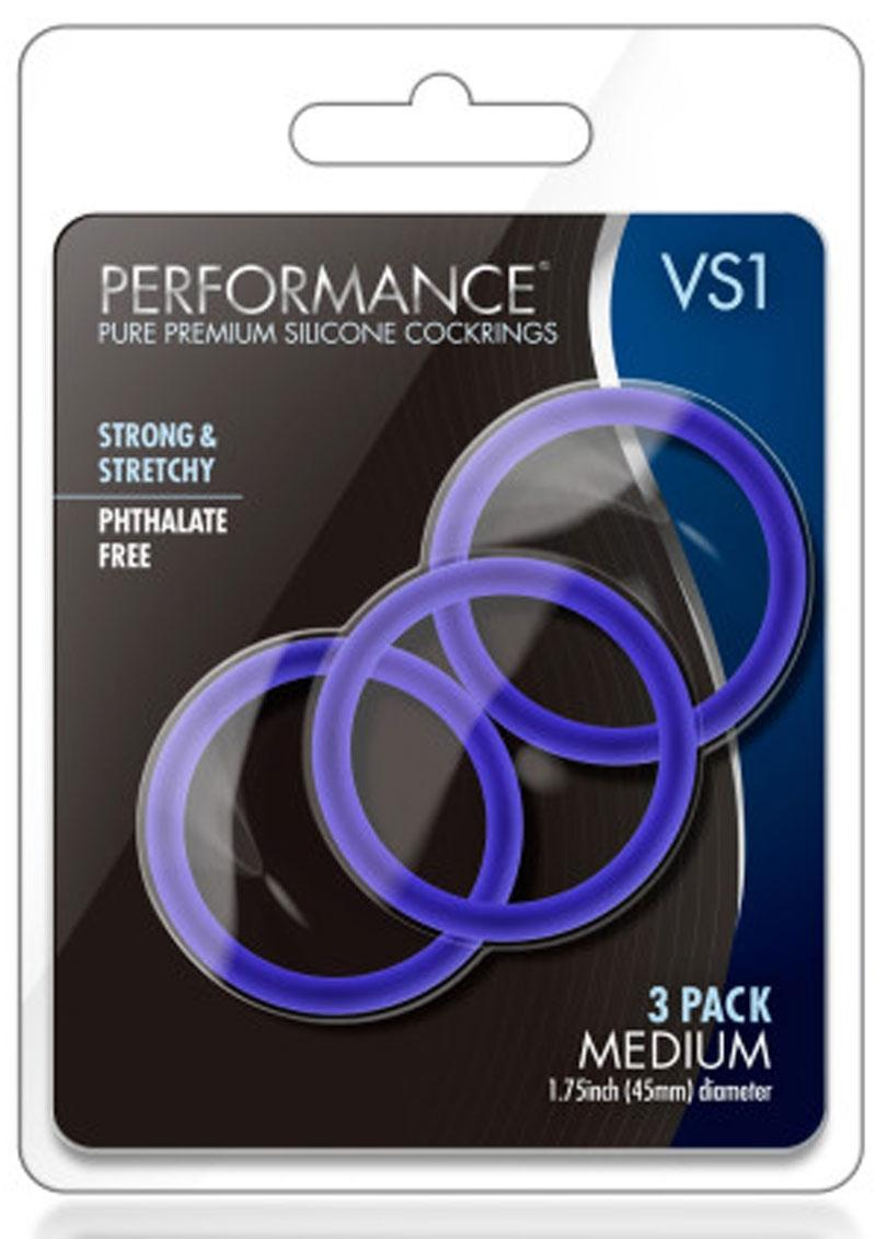 Performance VS1 Pure Premium Silicone Cock Rings (3 Pack) - Medium - Indigo