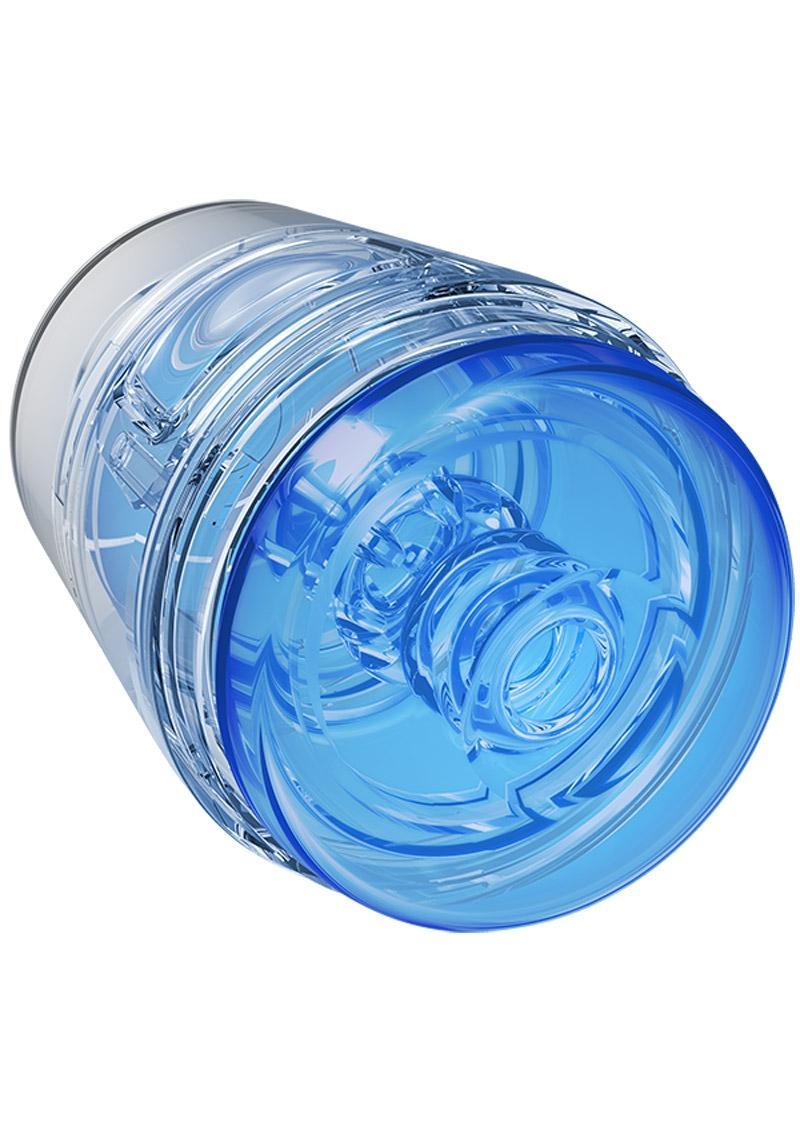 Main Squeeze Pop Off Ultraskyn Compact Masturbator - Crystal Blue