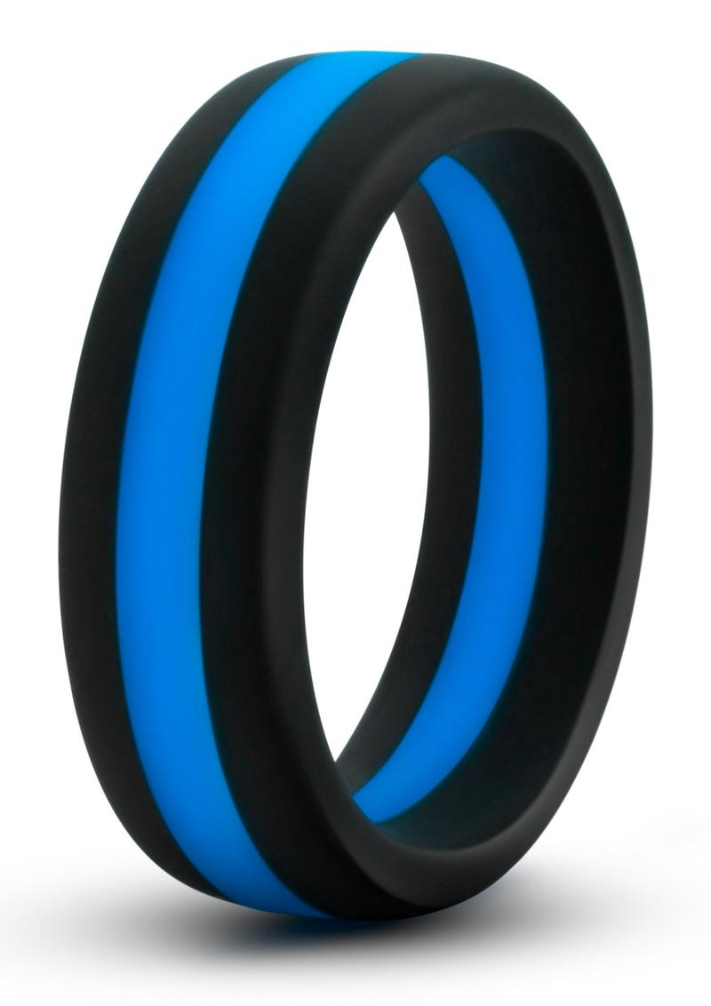 Performance Silicone Go Pro Cock Ring - Black/Blue