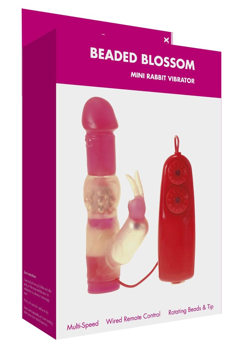 Minx Beaded Blossom Rabbit Vibrator With Remote Control - Red