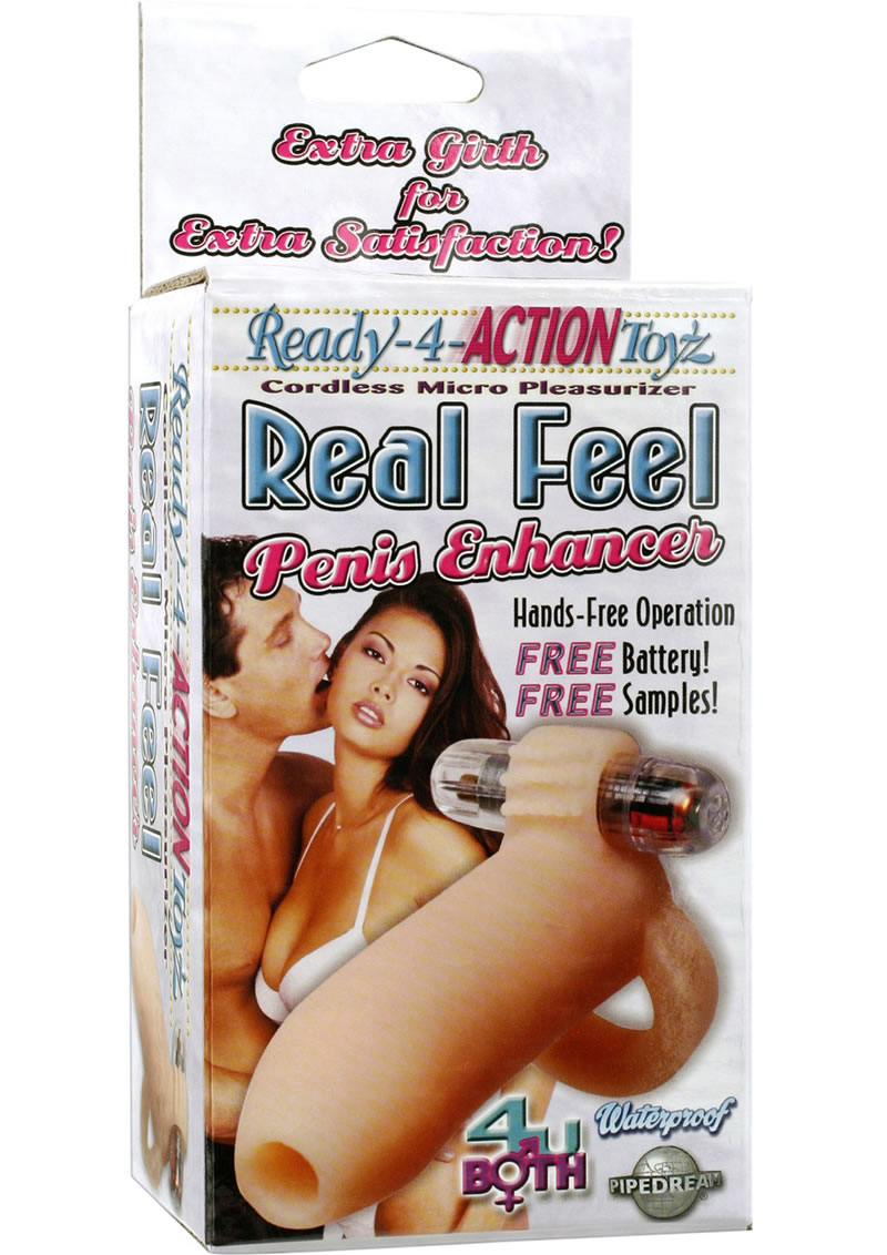 Ready-4-Action Toyz Real Feel Vibrating Penis Enhancer - Vanilla