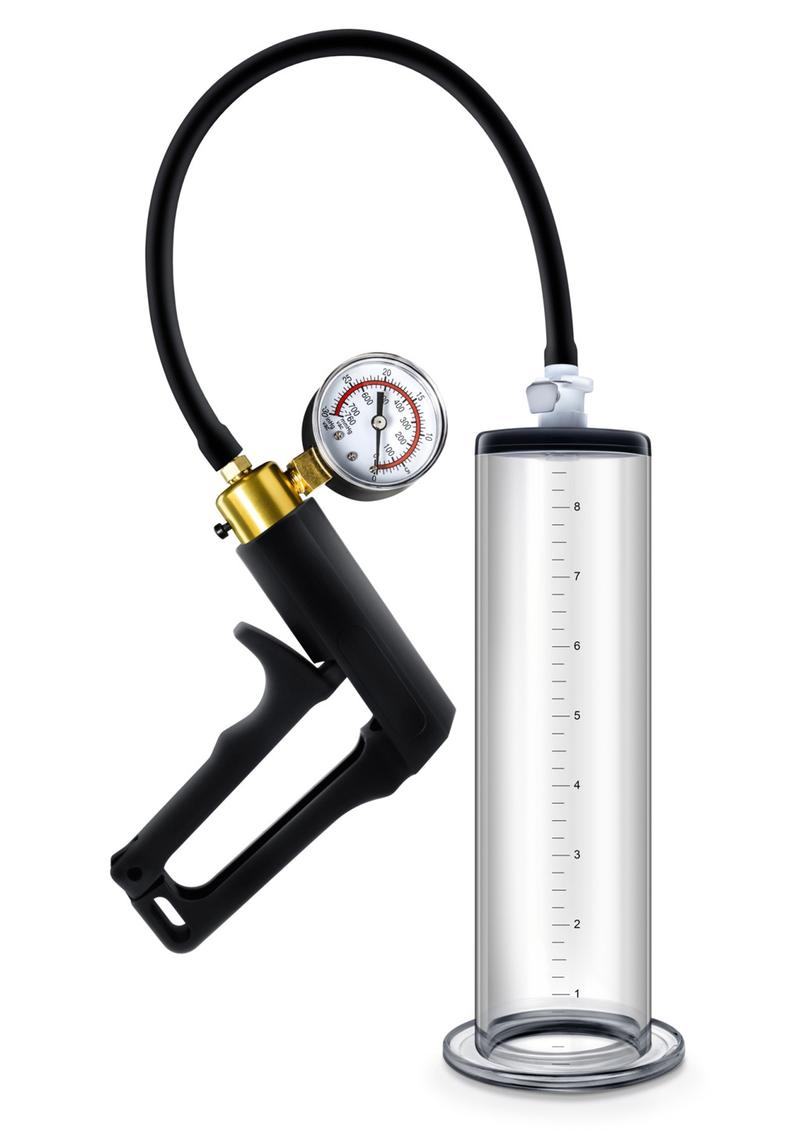 Performance VX7 Vacuum Penis Pump with Brass Trigger and Pressure Gauge 9.5in - Clear