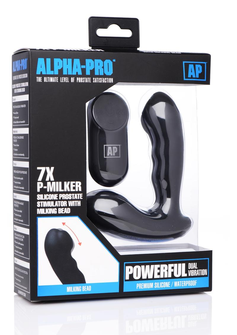 Alpha-Pro P-Milker Silicone Prostate Stimulator with Milking Bead - Black