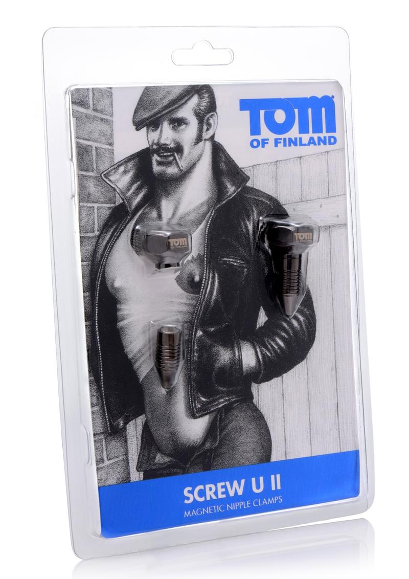 Tom Of Finland Bro`s Pins Magnetic Nipple Clamps - Gray
