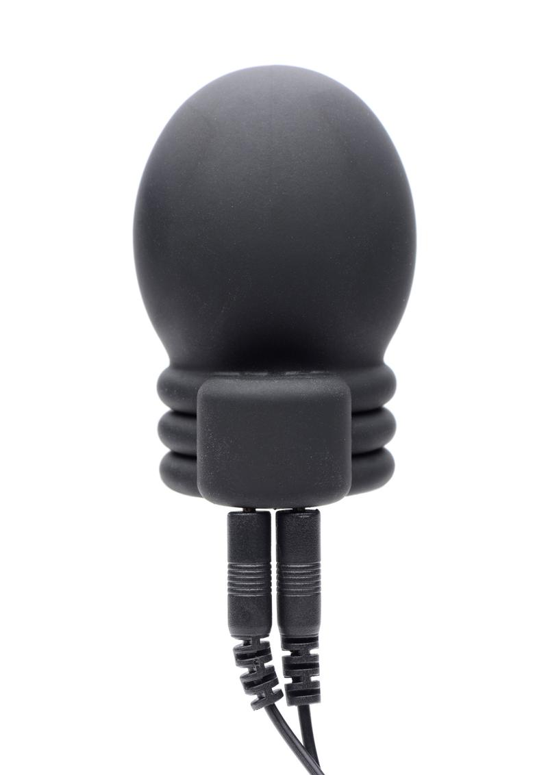 Zeus Electrosex Lightning Hood E-stim Silicone Penis Head Teaser - Black