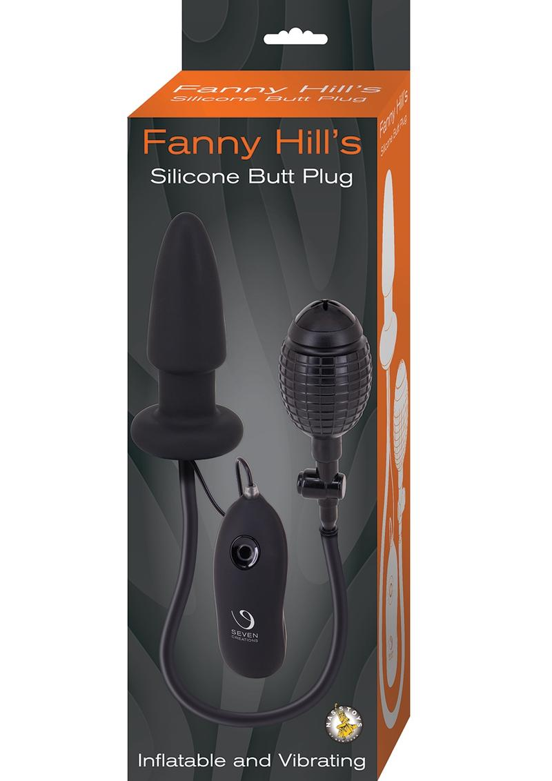 Fanny Hills Silicone Butt Plug Inflatable and Vibrating - Black