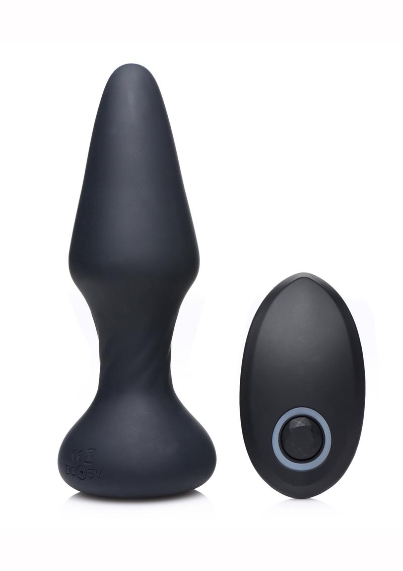 Thump-It Rechargeable Silicone Thumping Slim Butt Plug - Black