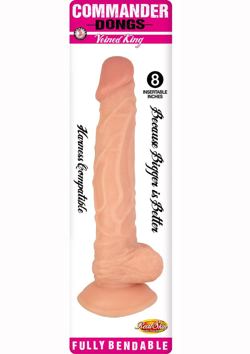Commander Dongs Veined King Bendable Dildo With Balls 8in - Vanilla