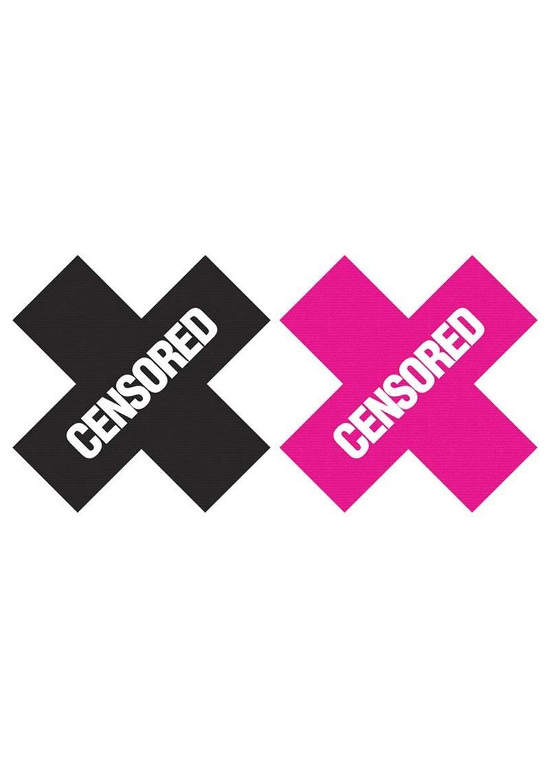 Peekaboo Censored Pasties - Black/Pink