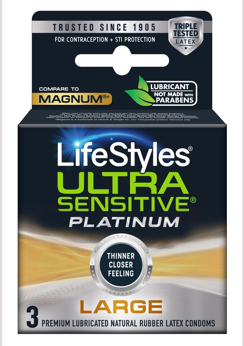 Lifestyles Condom Sensitive Platinum Extra Lubricated 3 Pack - Large