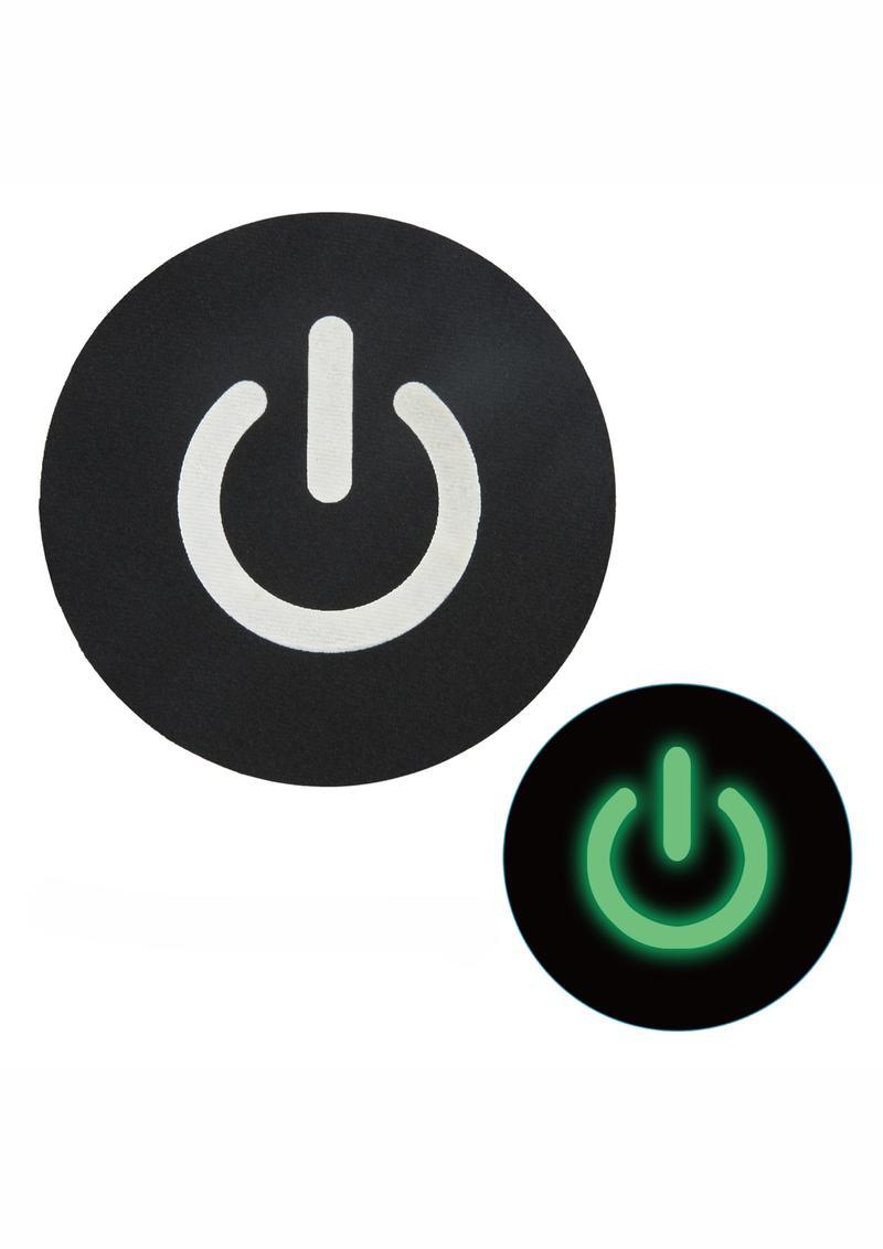 Peekaboo Glow In The Dark Power Button Pasties - Black/Green