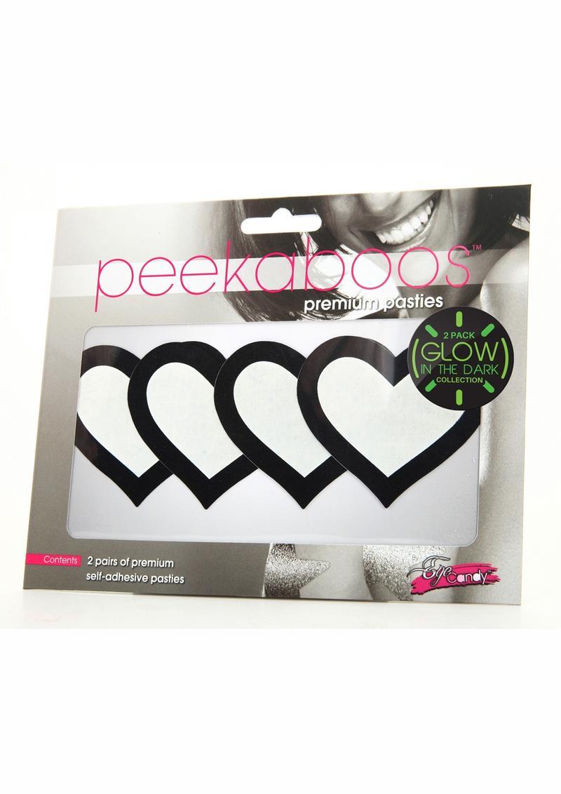 Peekaboo Glow In The Dark Hearts Pasties - Black/Green