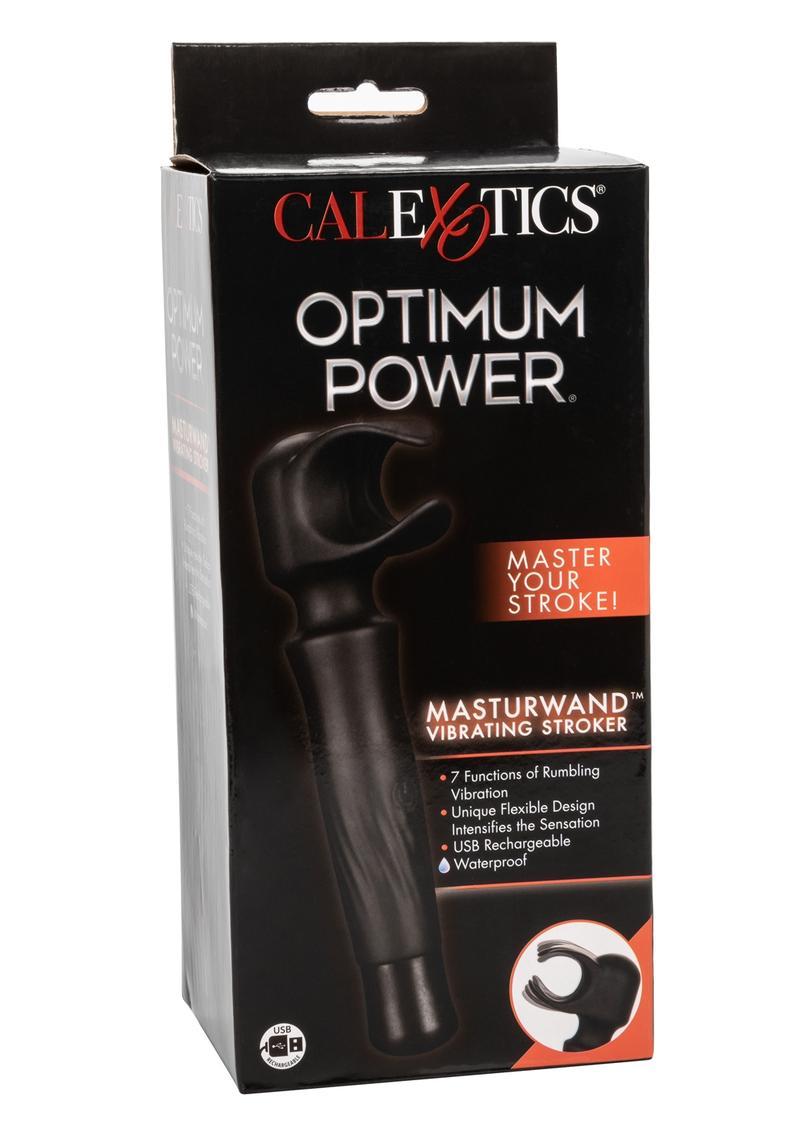 Optimum Power Masturwand Vibrating Stroker Rechargeable Masturbator - Black