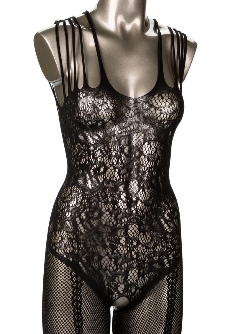 Scandal Strappy Lace Body Suit Plus Size - Black