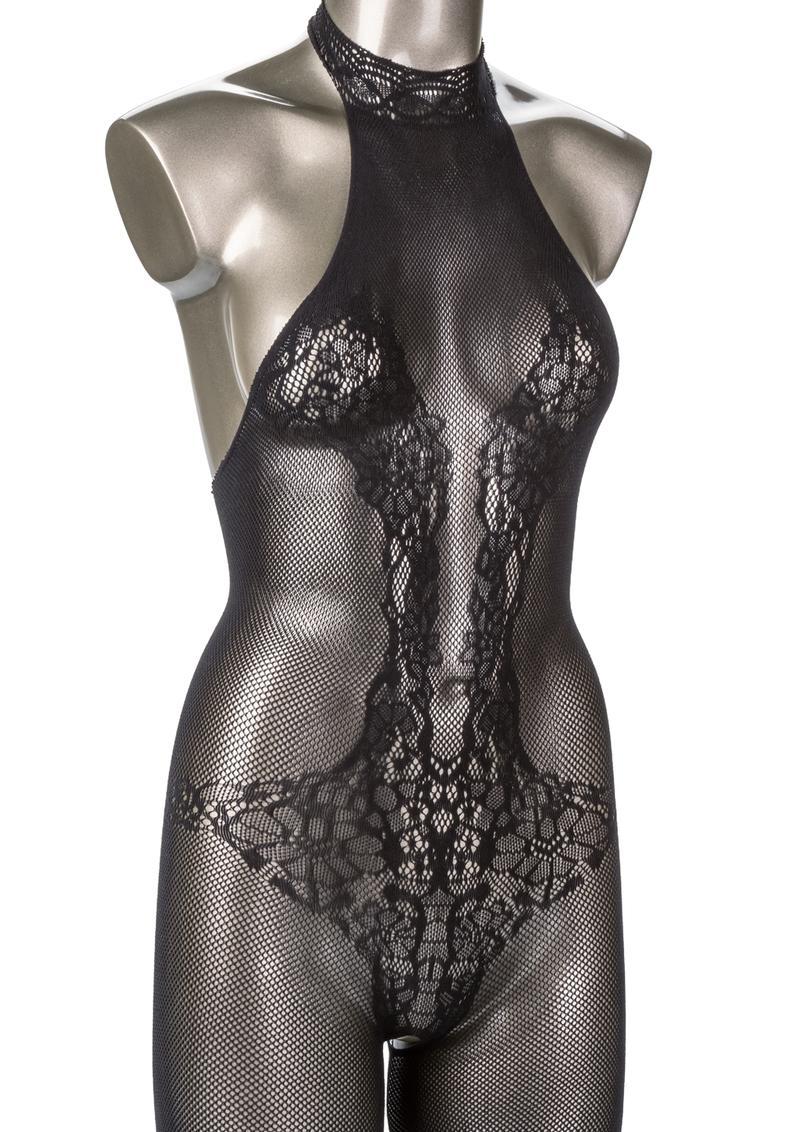 Scandal Halter Lace Body Suit - Plus Size - Black
