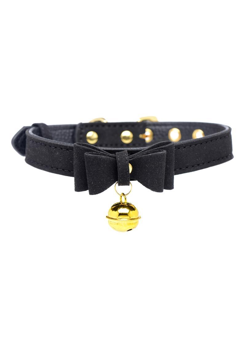 Master Series Golden Kitty Cat Bell Collar - Black/Gold