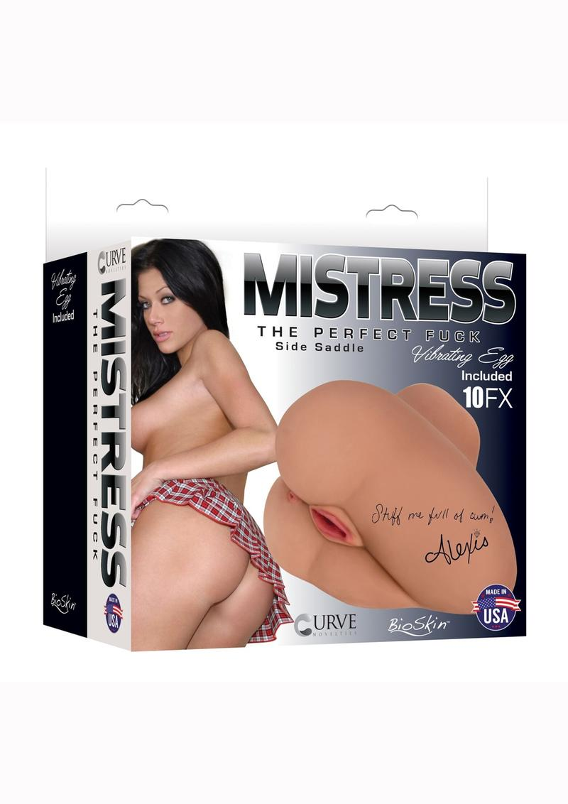 Mistress Alexis Vibrating BioSkin Sidesaddle Stroker - Pussy And Ass - Caramel