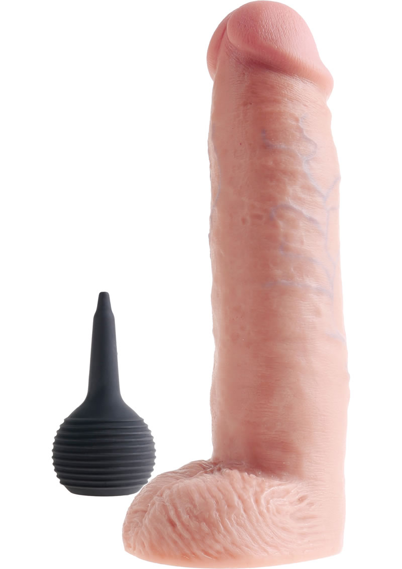 King Cock Squirting Dildo with Balls 10in - Vanilla