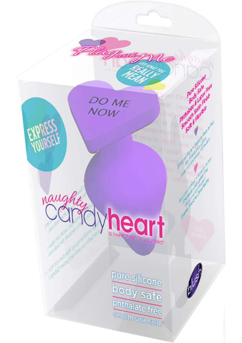 Play with Me Naughty Candy Heart Do Me Now Silicone Butt Plug - Purple