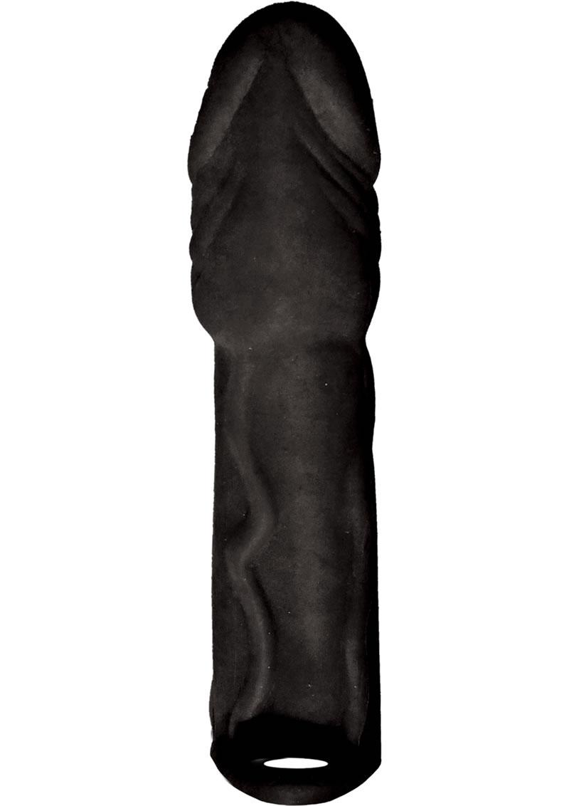 Skinsations Black Diamond Series Husky Lover Vibe Extension Sleeve With Scrotum Strap Black 7 Inch