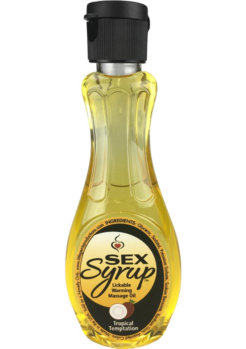 Sex Syrup Lickable Flavored Warming Massage Oil 4oz -Tropical Temptation
