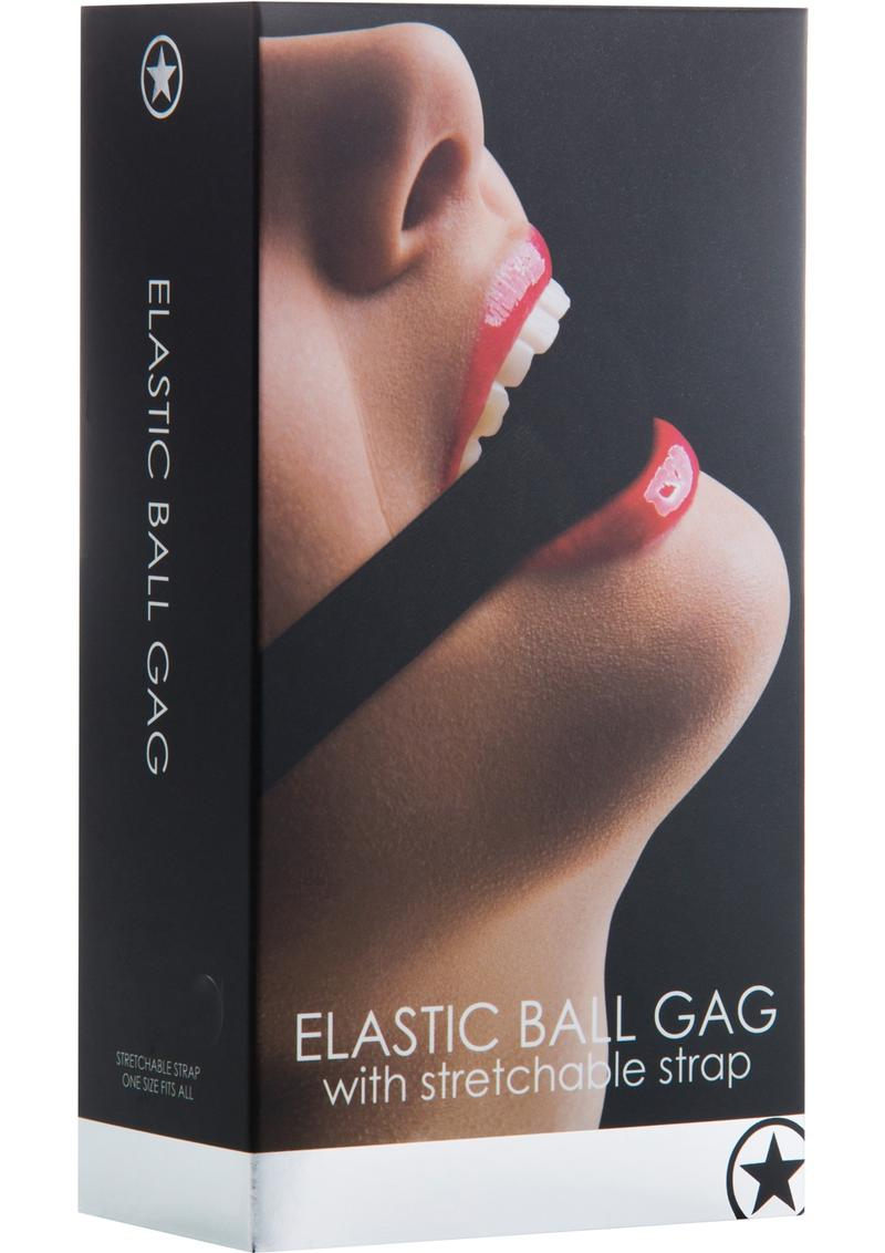 Ouch Elastic Ball Gag With Stretchable Strap - Black